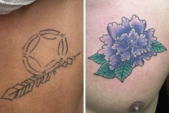 cover up tattoo design of color flower by Ei Omiya at Funhouse Tattoo in San Diego