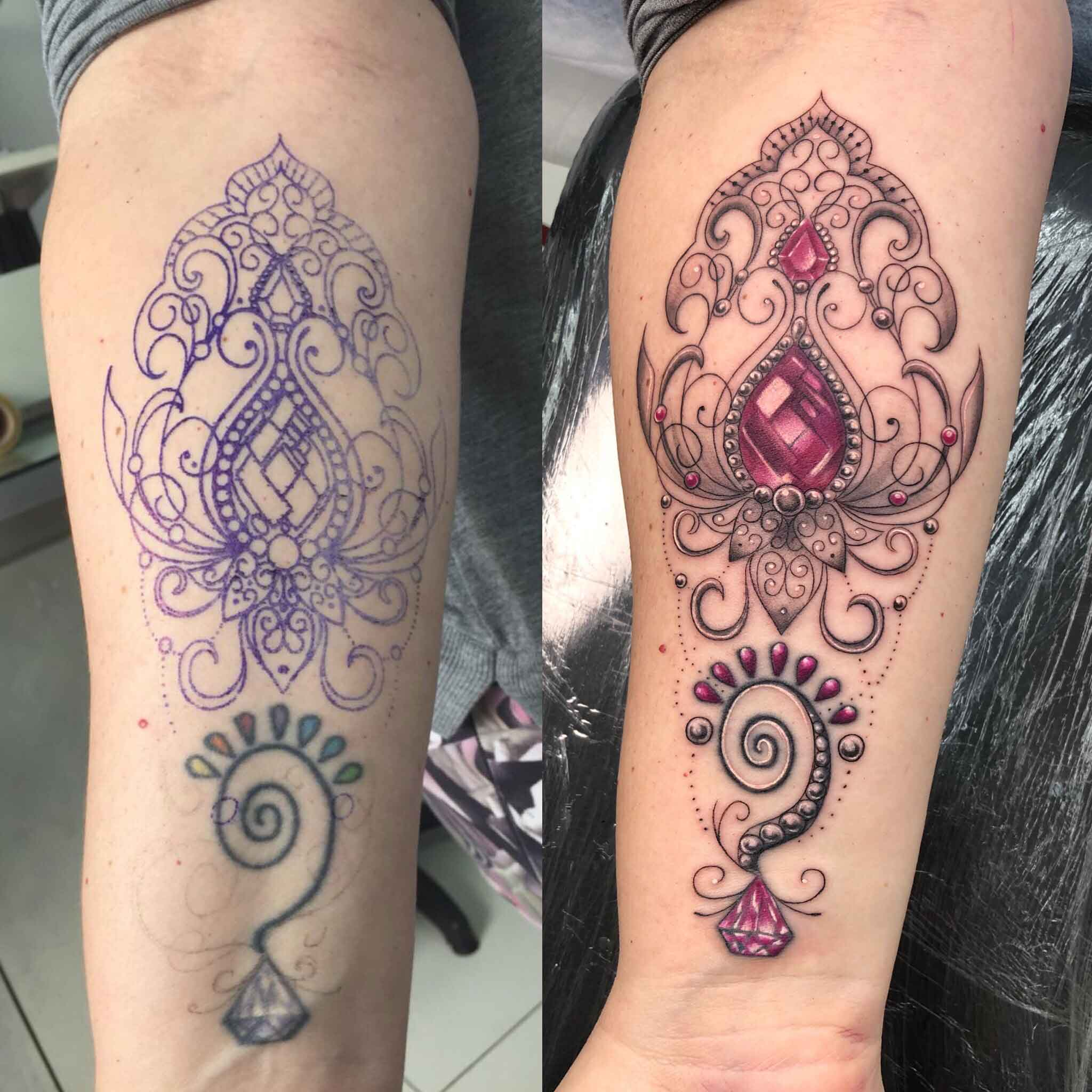 before and after cover up tattoo by Karlla Mendes