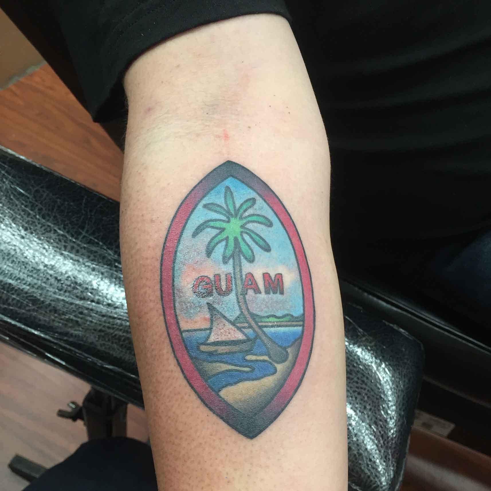 American-traditional-Guam-flag-tattoo