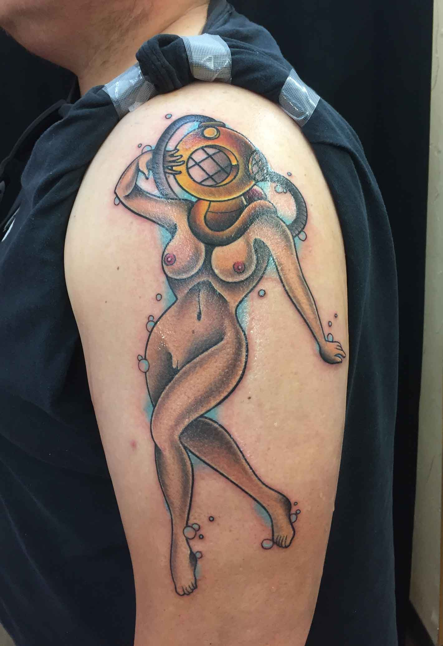 American-traditional-tattoo-of-nude-diver-pin-up-girl