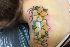 American-traditional-plumeria-flowers-tattoo