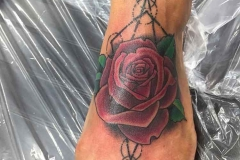 Neo-traditional-rose-with-trash-polka-geometric-design