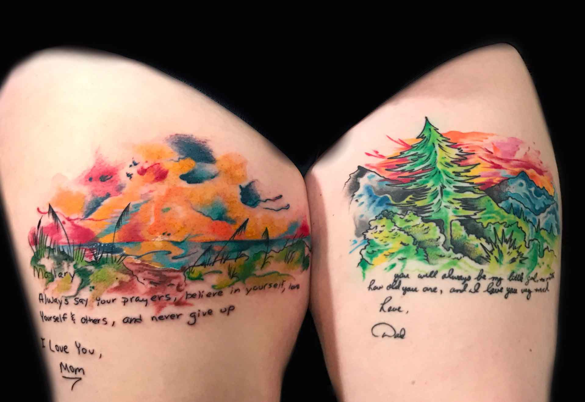 watercolor-tattoo-of-sunset-by-Roger-Solis-in-San-Diego